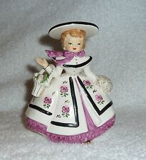 Vintage Rubens 1956 Lady Planter Girl Headvase Purple Flowers Pink