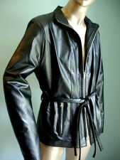 Caterina Black Faux Leather Jacket - Lined - Made in Italy - Sz 8-10