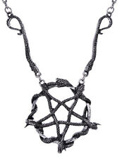 Restyle Silver Snake Inverted Pentagram Necklace Gothic Witchy Occult