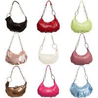 New Womens Hobo Handbag Purse Faux Leather Chain Metallic Shoulder Bag Fashion