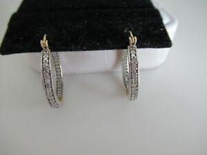 STERLING SILVER & DIAMOND HOOP EARRINGS
