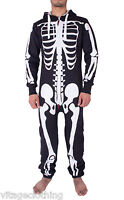 New Mens Unisex Halloween Costume Skeleton S All in One Jumpsuit
