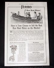 1914 OLD MAGAZINE PRINT AD, FERRO, SELL THE BEST ROW BOAT MOTOR ON THE MARKET!
