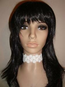 WHITE lace flowers venise trim CHOKER ribbon handmade victorian necklace