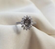14k white gold Oval diamond halo engagement ring setting only size 6.5