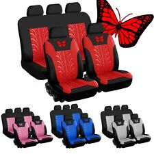 9x Universal Car Seat Covers Protector Cushion Front Rear 3D Butterfly Pattern