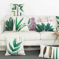 Floral Tropical Cushion Cover Cotton Linen Waist Throw Pillow Case Home #1319