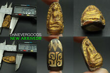 ANCIENT PHRA ROD WAT PHRA KEAW OLD JADE COVER GOLD LEAF THAI AMULET