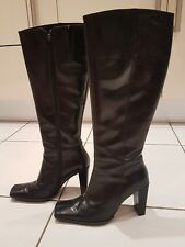 Womens black leather Dune block heel boots size 3