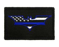 Batman Thin Blue Line Flag B&W Tactical Hook & Loop Embroidered Morale Tags