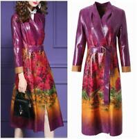 Women Floral Print Overcoat Trench Parka Coat Jacket Belt Party Outwear Belted