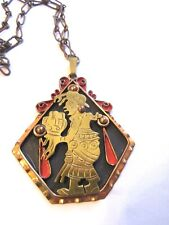 VTG Mexican Mixed Metal Copper Brass Signed Pendant Necklace- Very Detailed! 83g