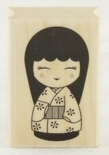 Japanese Doll #3 Wood Mounted Rubber Stamp Hero Arts NEW asian kimono art floral