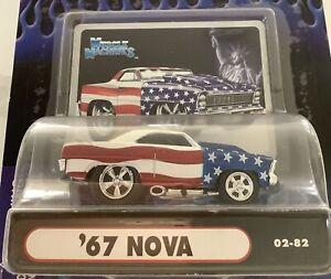 Muscle Machines '67 Nova Red White Blue Americana 02-82 Diecast Car 1/64 Scale