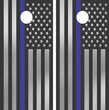 Cornhole Board Wraps (2x) Police Thin Blue Line American U.S. Flag Decal Mk003CB