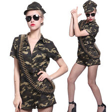 Womens Sexy Army Girl Military Uniform Jumpsuit Costume Camouflage Fancy Dress