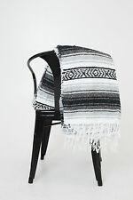 #11Black Gray Mexican Falsa Blanket Great Beach Picnic Yoga Open Road Bed Throw