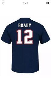 Majestic Tom Brady New England Patriots Navy Men's Large Shirt Nfl Football
