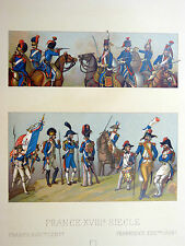 Costume Militaire 1792-93 - CHROMOLITHOGRAPHIE ORIGINALE 19e Racinet UNIFORME