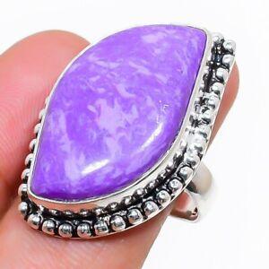 Charoite Gemstone Handmade 925 Sterling Silver Jewelry Ring Size 8