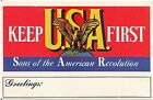 """Keep USA First"" Sons of the American Revolution Patriotic Postcard"
