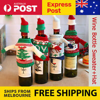 Knitted Snowman Moose Joy Tree Christmas Wine Bottle Cover Bag Sleeve Xmas Decor