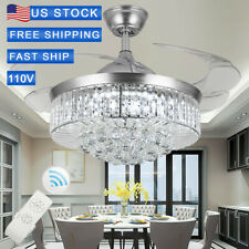New Listing42' Crystal Invisable Silver Ceiling Fan Led Lamp Lighting Remote Chandeliers
