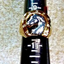 WHITE AUSTRIAN CRYSTAL ION PLATED YG & STAINLESS STEEL HORSE  RING - SIZE 10