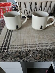 HEARTH & HAND With Magnolia EMBOSSED TREE Coffee Mug SET OF 2 Stoneware NEW