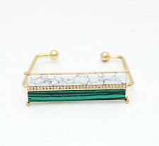 Fashion Brass Gold Plated Turquoise Malachite Square Cuff Bangle Bracelet