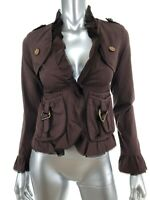 Banana USA Sz Small Jacket Brown Lightweight Cotton Hook Eye Closure Ruffle Trim