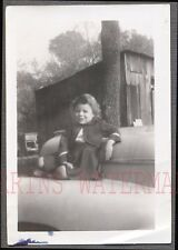 Vintage 1940s Snapshot Photo Tiny Girl Sitting on Big Car 686613