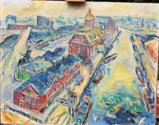 oil painting berlin westport Ford Germany 1956 Westhafen R. Richter Ölgemälde