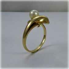 14ct Gold Dolphin Pearl Dress Ring