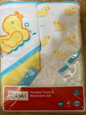 Kidgets Hooded Towel & Washcloth Sets 4 Pieces New Unisex