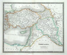 TURKEY IN ASIA, CYPRUS, ISRAEL, SYRIA, IRAQ, ARMENIA, Teesdale antique map 1841