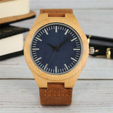 Wooden Quartz Watch for Men Bamboo Analog's Watches Cowhide Leather Band Reloj