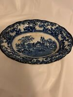 Antique Colonial Pottery Stoke England Winkle Co Togo Blue Oval Serving Platter