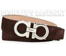 SALVATORE FERRAGAMO brown 44 Suede GANCINI buckle Adjustable belt NWT Auth $395!