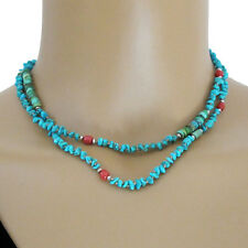 djs Sundance Sol Turquoise Coral Sterling Silver Knotted Cord Long Necklace Boho