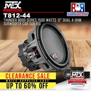 "MTX T812-44 Thunder 8000 Series 1500 Watts 12"" Dual 4-Ohm Subwoofer Car Sub Big"