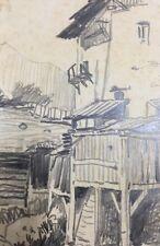 originale Zeichnung Bauernhaus monogrammiert  Daniel Staschus -