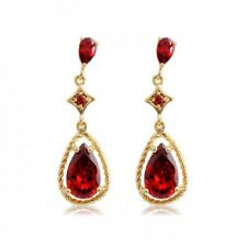 LOVELY 18K GOLD PLATED GENUINE CUBIC ZIRCONIA RUBY RED LONG DANGLE EARRINGS
