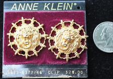New Original Card Old Stock ANNE KLEIN Goldtone LION HEAD Clip-On Earrings #1