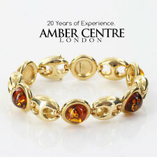 ITALIAN MADE UNIQUE BALTIC AMBER BRACELET IN 14CT GOLD -GBR108  RRP£3000!!!