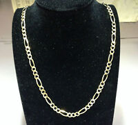 """14kt Solid Yellow Gold Figaro curb link chain/necklace 22"""" 7MM 36 grams FIG180"""