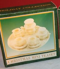 1 Set of Mini TEA SET off white resin Christmas Holiday Snowman 1""