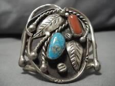 Superlative Vintage Navajo Sterling Silver Gilbert Turquoise Coral Bracelet