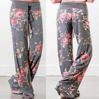 Women Ladies Loose Long Trousers Floral Drawstring Wide Leg Sport Pants Leggings