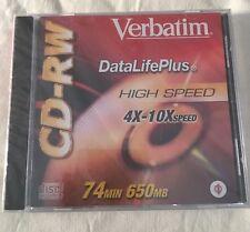 2 NEW Verbatim CD RW Data Life Plus High Speed 4x to 12x 74 Minutes 650 MB